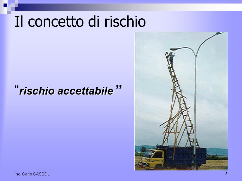 7 ing. Carlo CASSOL Il concetto di rischio rischio accettabile rischio accettabile