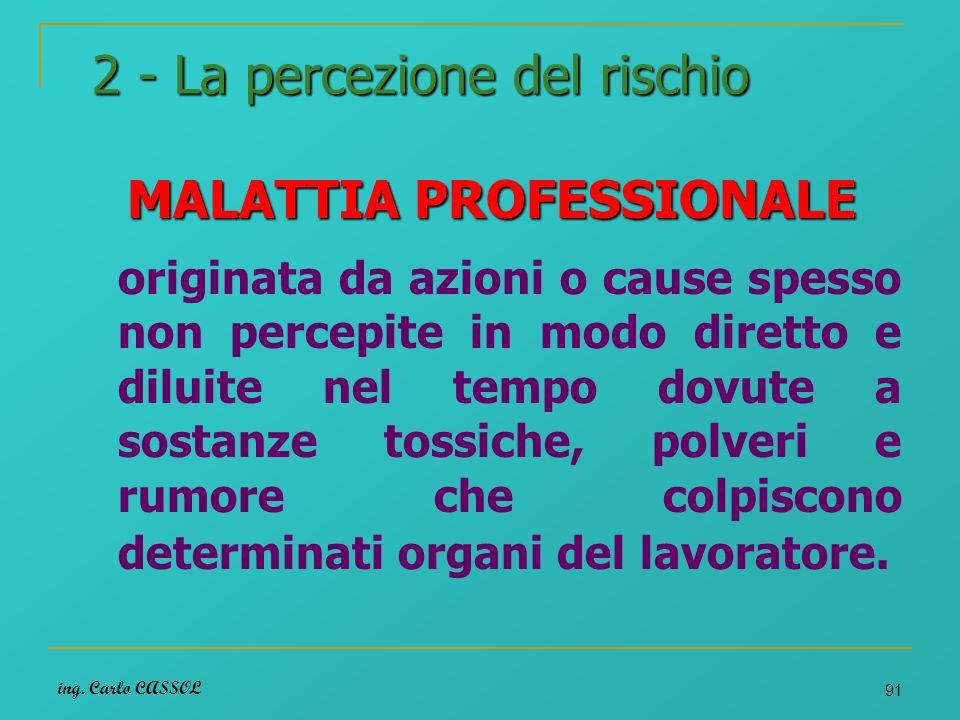 ing. Carlo CASSOL 91 2 - La percezione del rischio MALATTIA PROFESSIONALE originata da azioni o cause spesso non percepite in modo diretto e diluite n