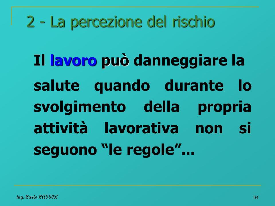 ing. Carlo CASSOL 94 2 - La percezione del rischio lavoropuò Il lavoro può danneggiare la salute quando durante lo svolgimento della propria attività