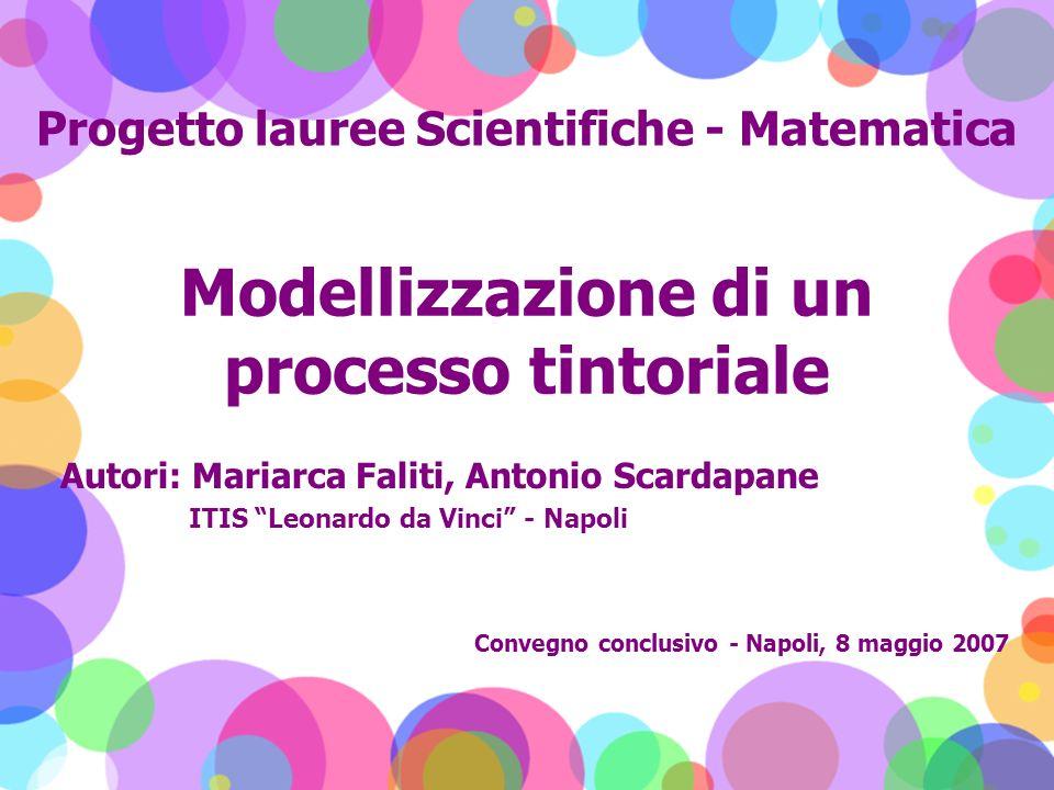 Modellizzazione di un processo tintoriale Autori: Mariarca Faliti, Antonio Scardapane ITIS Leonardo da Vinci - Napoli Progetto lauree Scientifiche - M