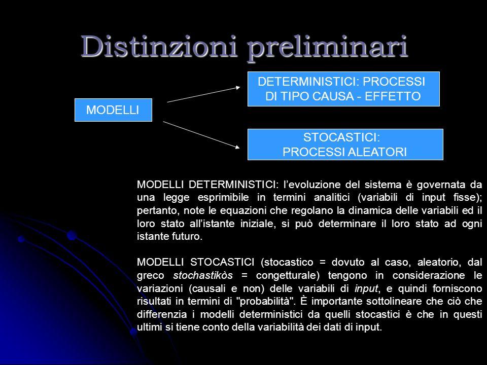 Distinzioni preliminari MODELLI DETERMINISTICI: PROCESSI DI TIPO CAUSA - EFFETTO STOCASTICI: PROCESSI ALEATORI MODELLI DETERMINISTICI: levoluzione del