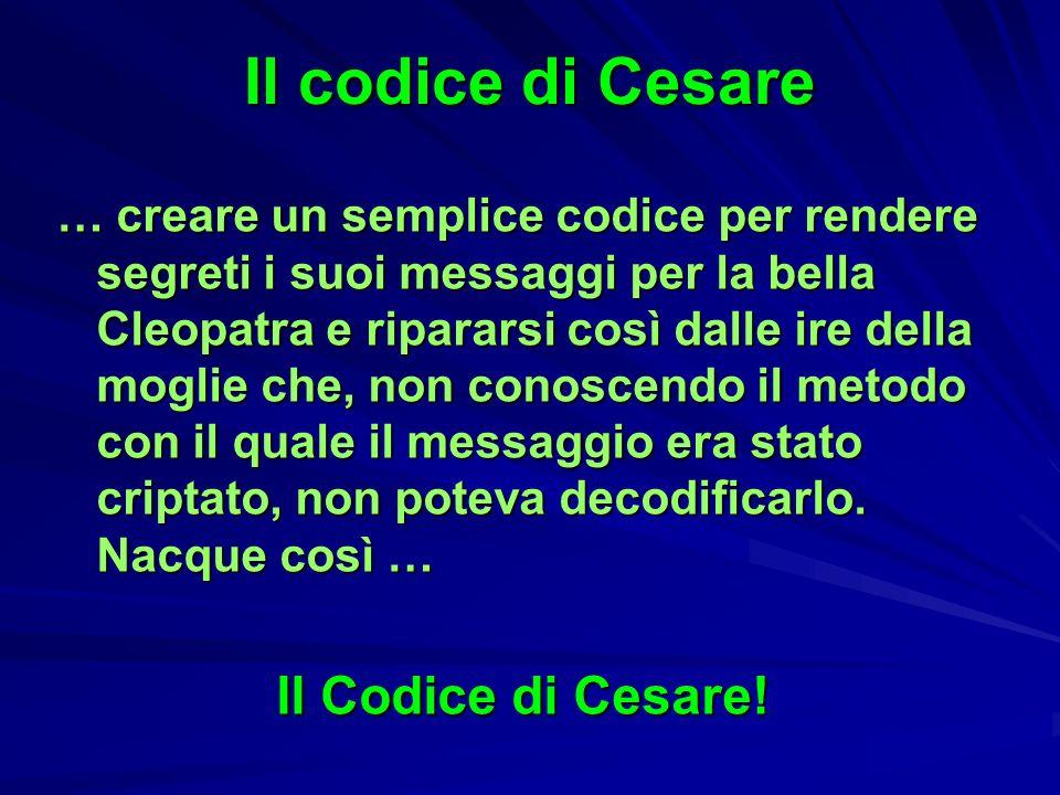 Il codice di Cesare … creare un semplice codice per rendere segreti i suoi messaggi per la bella Cleopatra e ripararsi così dalle ire della moglie che