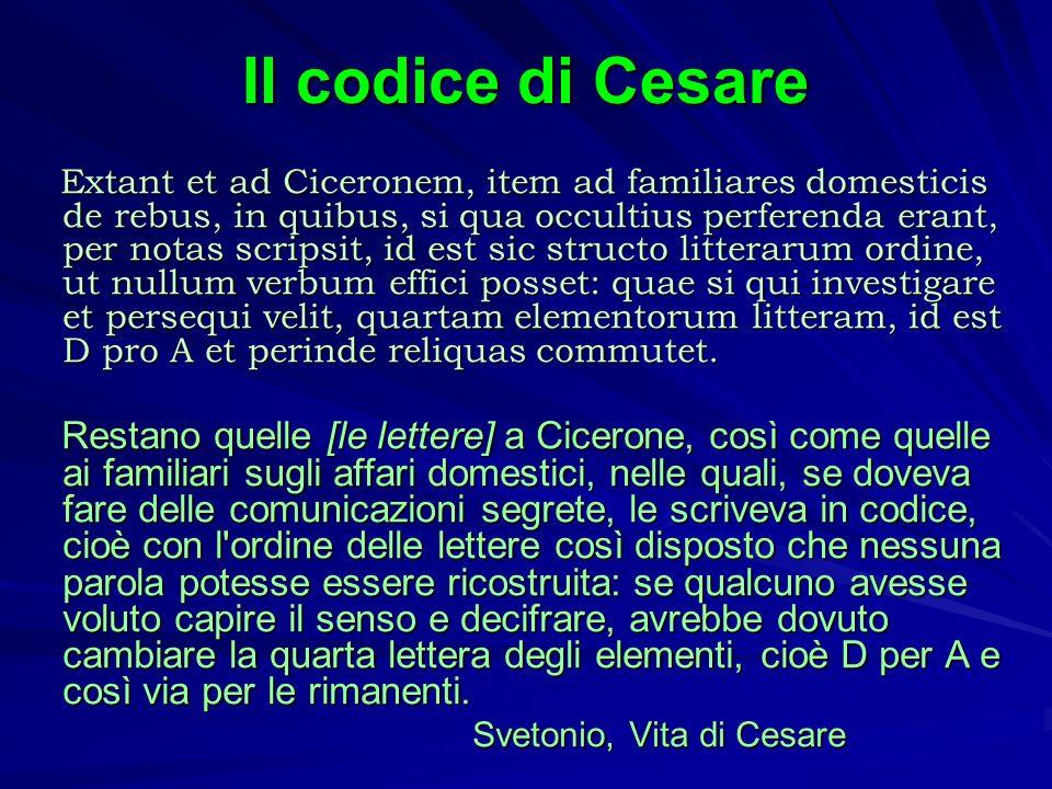 Il codice di Cesare Extant et ad Ciceronem, item ad familiares domesticis de rebus, in quibus, si qua occultius perferenda erant, per notas scripsit,