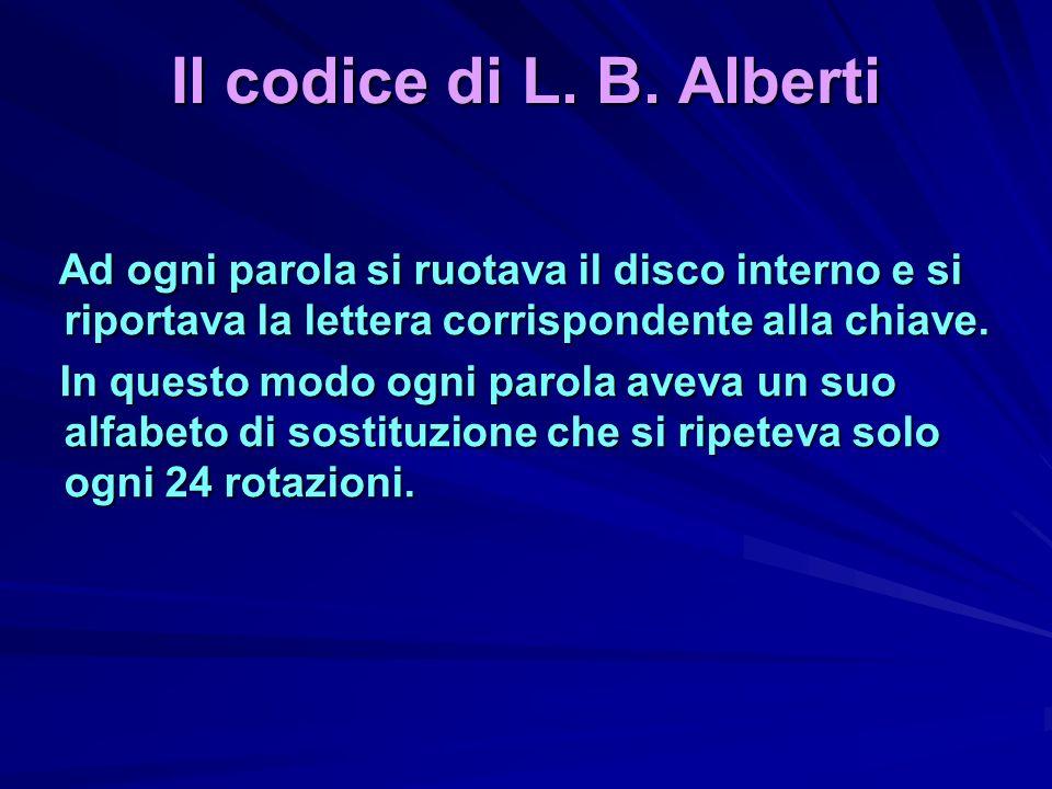 Il codice di L. B. Alberti Ad ogni parola si ruotava il disco interno e si riportava la lettera corrispondente alla chiave. Ad ogni parola si ruotava