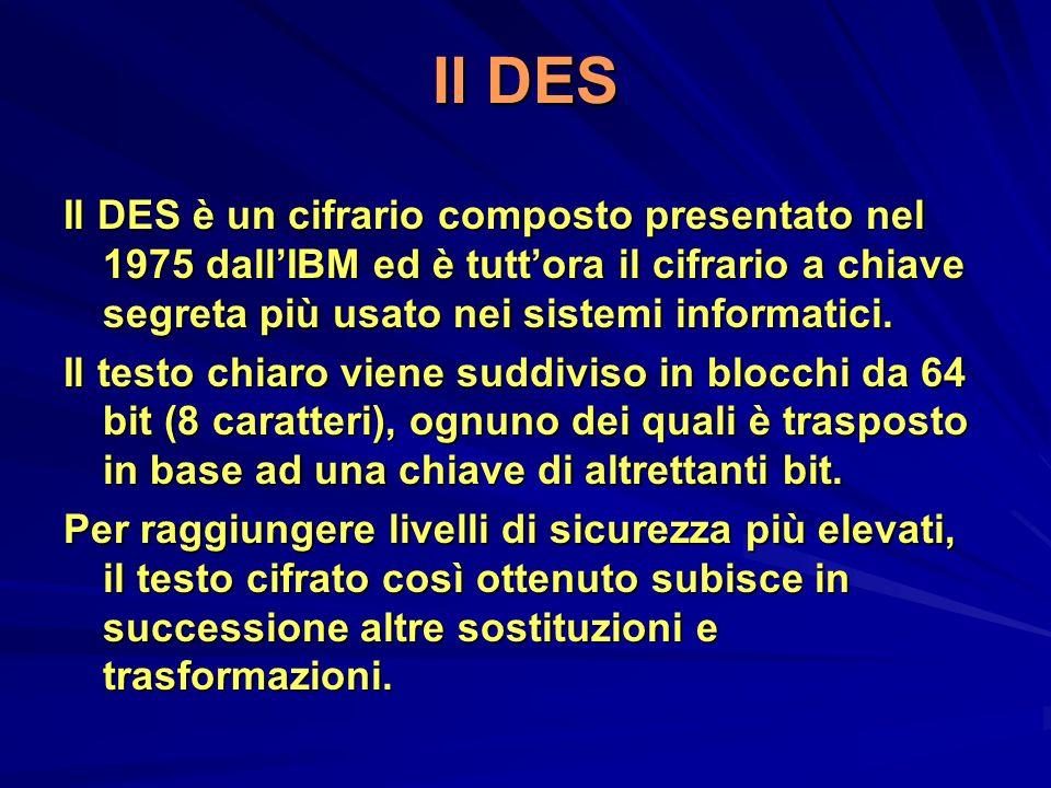 Il DES Il DES è un cifrario composto presentato nel 1975 dallIBM ed è tuttora il cifrario a chiave segreta più usato nei sistemi informatici. Il testo