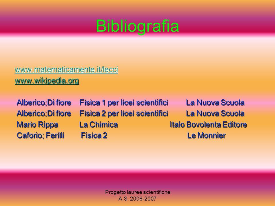 Progetto lauree scientifiche A.S. 2006-2007 Bibliografia www.matematicamente.it/lecci www.wikipedia.org Alberico;Di fiore Fisica 1 per licei scientifi