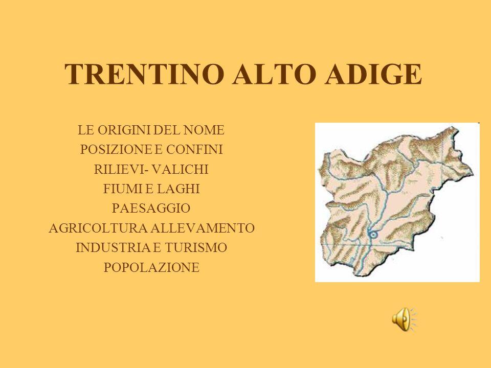 Le origini del nome: Questa regione ha due nomi perché è composta da due regioni distinte: la parte meridionale è il Trentino che prende il suo nome dal capoluogo, cioè Trento, dal latino Tridentum (antico municipio) e la parte settentrionale Alto Adige, chiamata così perché è situata nel bacino del corso superiore di questo fiume.