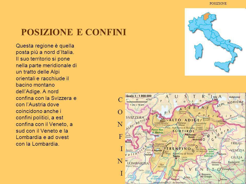 POSIZIONE E CONFINI Questa regione è quella posta più a nord dItalia. Il suo territorio si pone nella parte meridionale di un tratto delle Alpi orient