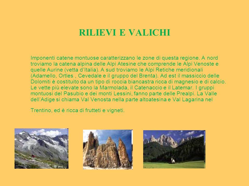 RILIEVI E VALICHI Imponenti catene montuose caratterizzano le zone di questa regione. A nord troviamo la catena alpina delle Alpi Atesine che comprend