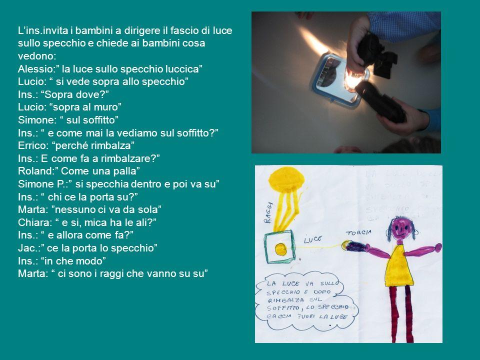 Lins.invita i bambini a dirigere il fascio di luce sullo specchio e chiede ai bambini cosa vedono: Alessio: la luce sullo specchio luccica Lucio: si v