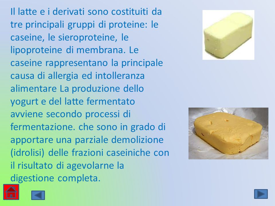 Il latte e i derivati sono costituiti da tre principali gruppi di proteine: le caseine, le sieroproteine, le lipoproteine di membrana. Le caseine rapp