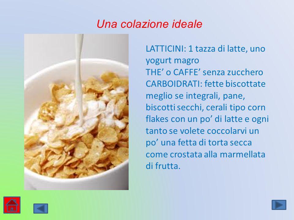 Una colazione ideale LATTICINI: 1 tazza di latte, uno yogurt magro THE o CAFFE senza zucchero CARBOIDRATI: fette biscottate meglio se integrali, pane,