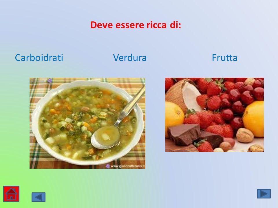 Deve essere ricca di: Carboidrati Verdura Frutta