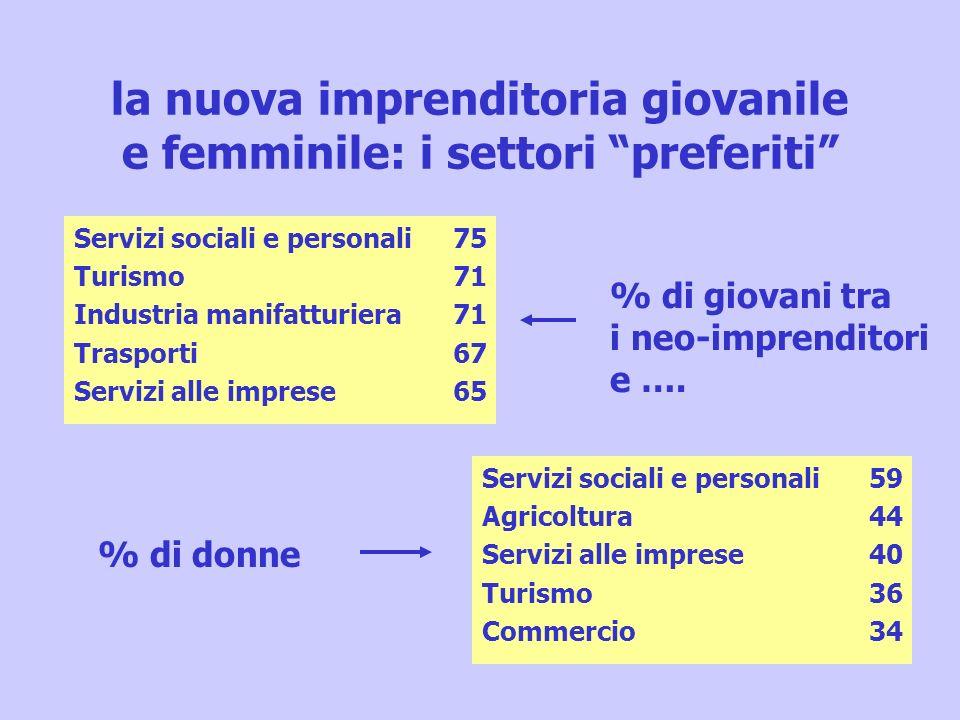 la nuova imprenditoria giovanile e femminile: i settori preferiti Servizi sociali e personali Agricoltura Servizi alle imprese Turismo Commercio 59 44