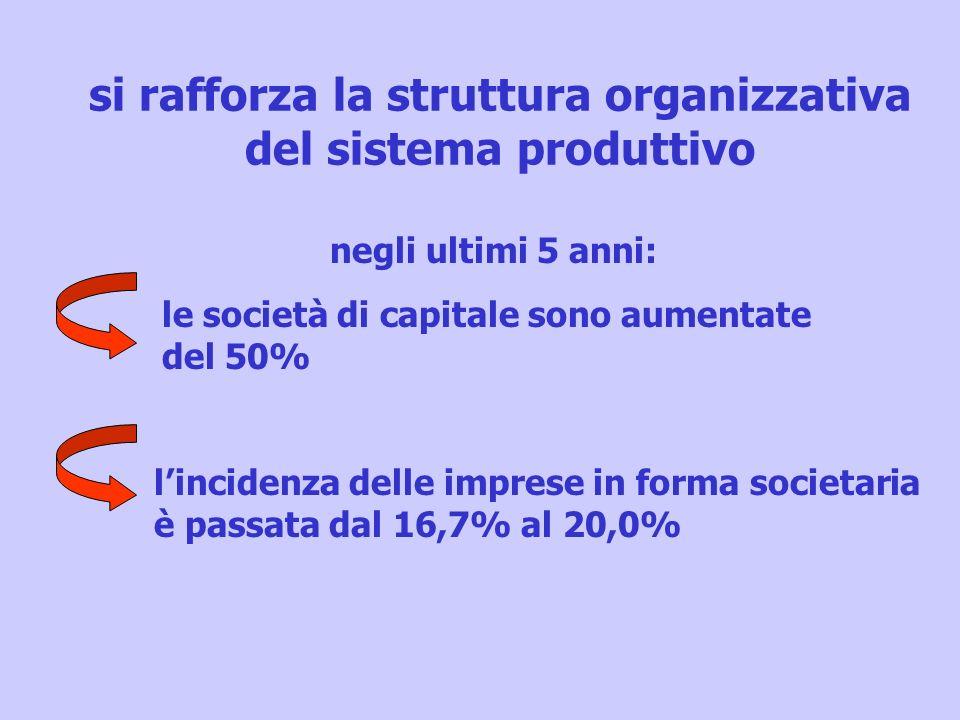 si rafforza la struttura organizzativa del sistema produttivo le società di capitale sono aumentate del 50% lincidenza delle imprese in forma societar