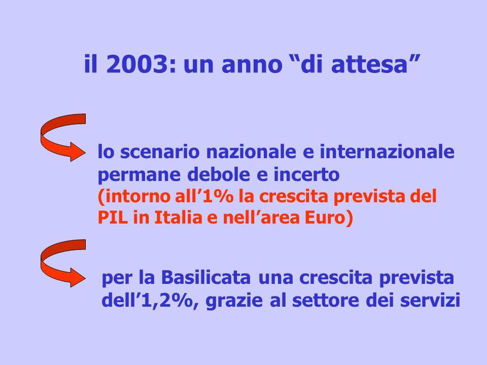 il 2003: un anno di attesa lo scenario nazionale e internazionale permane debole e incerto (intorno all1% la crescita prevista del PIL in Italia e nel