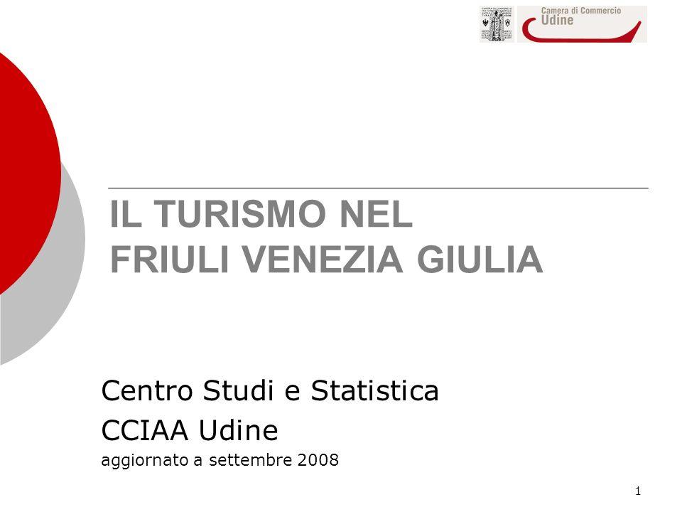 1 IL TURISMO NEL FRIULI VENEZIA GIULIA Centro Studi e Statistica CCIAA Udine aggiornato a settembre 2008