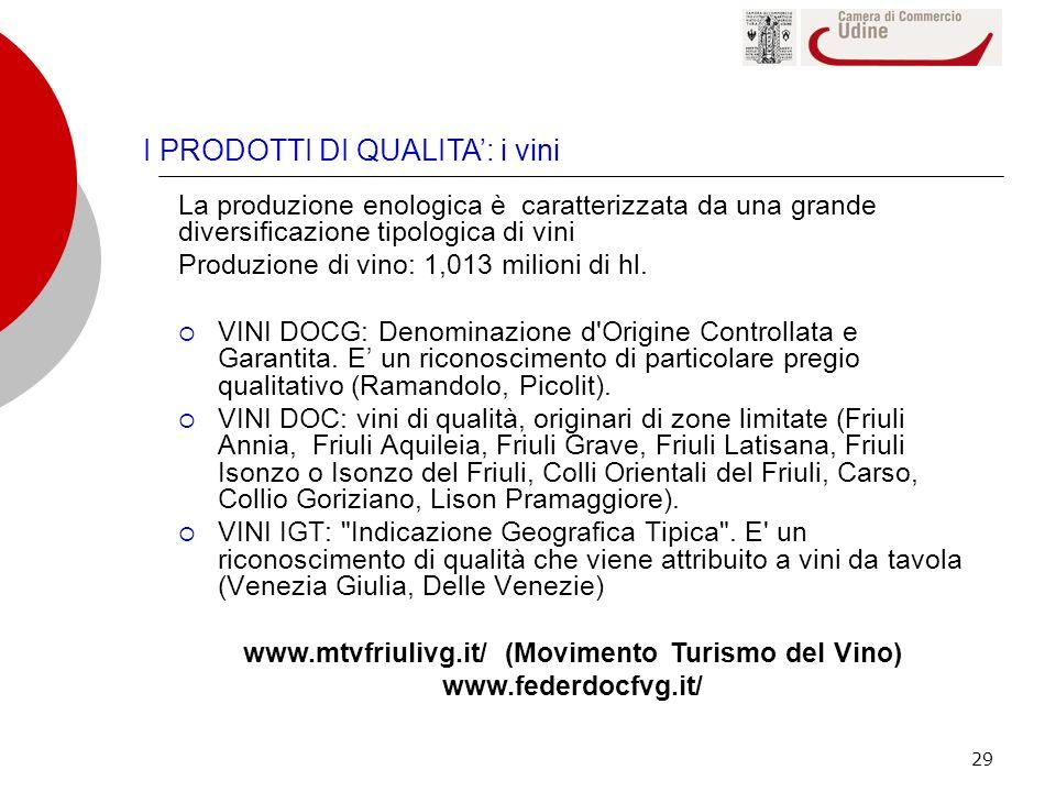 29 I PRODOTTI DI QUALITA: i vini La produzione enologica è caratterizzata da una grande diversificazione tipologica di vini Produzione di vino: 1,013