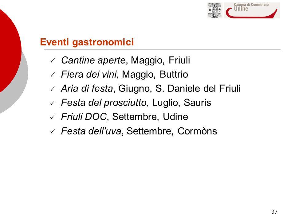 37 Eventi gastronomici Cantine aperte, Maggio, Friuli Fiera dei vini, Maggio, Buttrio Aria di festa, Giugno, S. Daniele del Friuli Festa del prosciutt