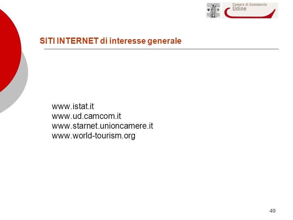 49 www.istat.it www.ud.camcom.it www.starnet.unioncamere.it www.world-tourism.org SITI INTERNET di interesse generale