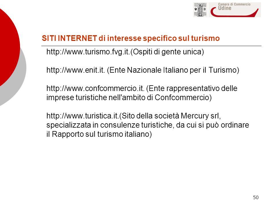 50 http://www.turismo.fvg.it.(Ospiti di gente unica) http://www.enit.it. (Ente Nazionale Italiano per il Turismo) http://www.confcommercio.it. (Ente r
