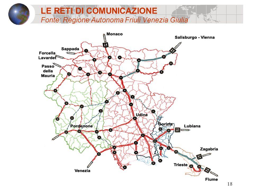18 LE RETI DI COMUNICAZIONE Fonte: Regione Autonoma Friuli Venezia Giulia