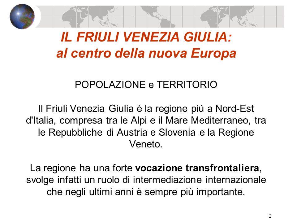 2 IL FRIULI VENEZIA GIULIA: al centro della nuova Europa POPOLAZIONE e TERRITORIO Il Friuli Venezia Giulia è la regione più a Nord-Est d'Italia, compr