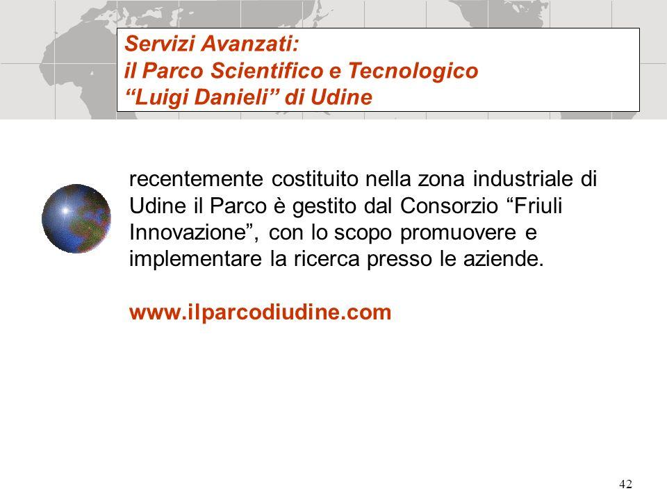 42 recentemente costituito nella zona industriale di Udine il Parco è gestito dal Consorzio Friuli Innovazione, con lo scopo promuovere e implementare