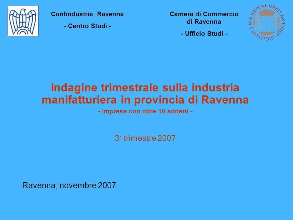 INDUSTRIA MANIFATTURIERA Principali indicatori III trim 2007I-II-III trim 2007