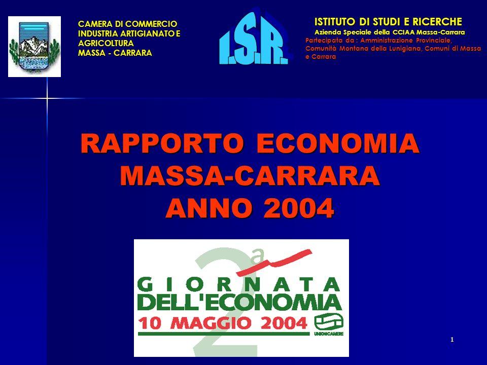 1 RAPPORTO ECONOMIA MASSA-CARRARA ANNO 2004 CAMERA DI COMMERCIO INDUSTRIA ARTIGIANATO E AGRICOLTURA MASSA - CARRARA ISTITUTO DI STUDI E RICERCHE ISTITUTO DI STUDI E RICERCHE Azienda Speciale della CCIAA Massa-Carrara Azienda Speciale della CCIAA Massa-Carrara Partecipata da : Amministrazione Provinciale, Comunità Montana della Lunigiana, Comuni di Massa e Carrara
