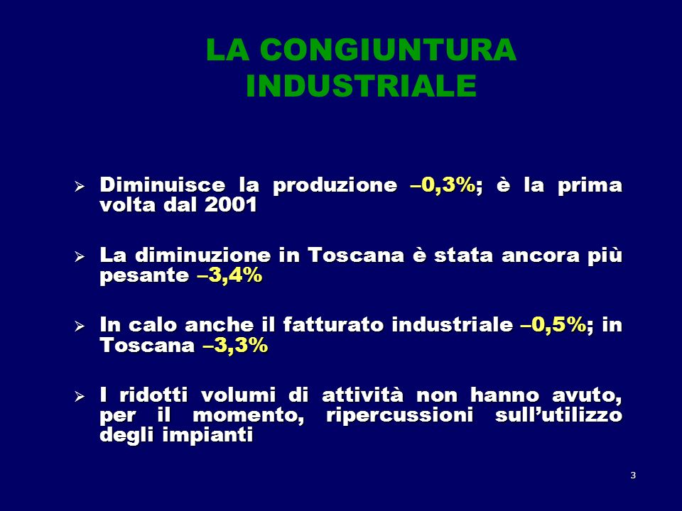 3 LA CONGIUNTURA INDUSTRIALE Diminuisce la produzione –0,3%; è la prima volta dal 2001 Diminuisce la produzione –0,3%; è la prima volta dal 2001 La diminuzione in Toscana è stata ancora più pesante –3,4% La diminuzione in Toscana è stata ancora più pesante –3,4% In calo anche il fatturato industriale –0,5%; in Toscana –3,3% In calo anche il fatturato industriale –0,5%; in Toscana –3,3% I ridotti volumi di attività non hanno avuto, per il momento, ripercussioni sullutilizzo degli impianti I ridotti volumi di attività non hanno avuto, per il momento, ripercussioni sullutilizzo degli impianti