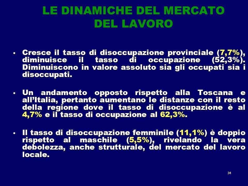34 LE DINAMICHE DEL MERCATO DEL LAVORO Cresce il tasso di disoccupazione provinciale (7,7%), diminuisce il tasso di occupazione (52,3%).