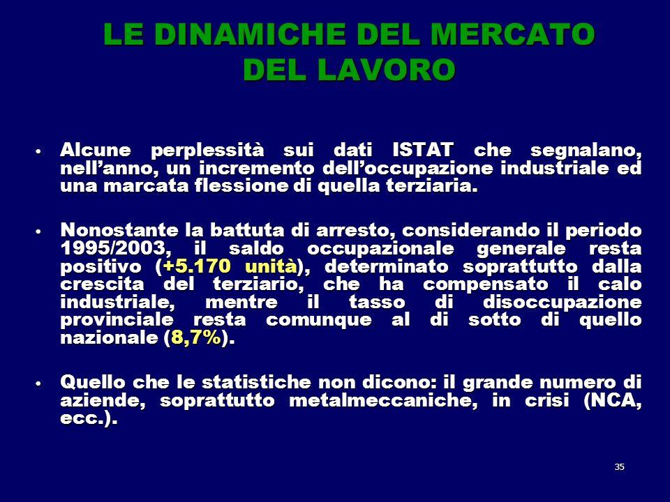 35 LE DINAMICHE DEL MERCATO DEL LAVORO Alcune perplessità sui dati ISTAT che segnalano, nellanno, un incremento delloccupazione industriale ed una marcata flessione di quella terziaria.