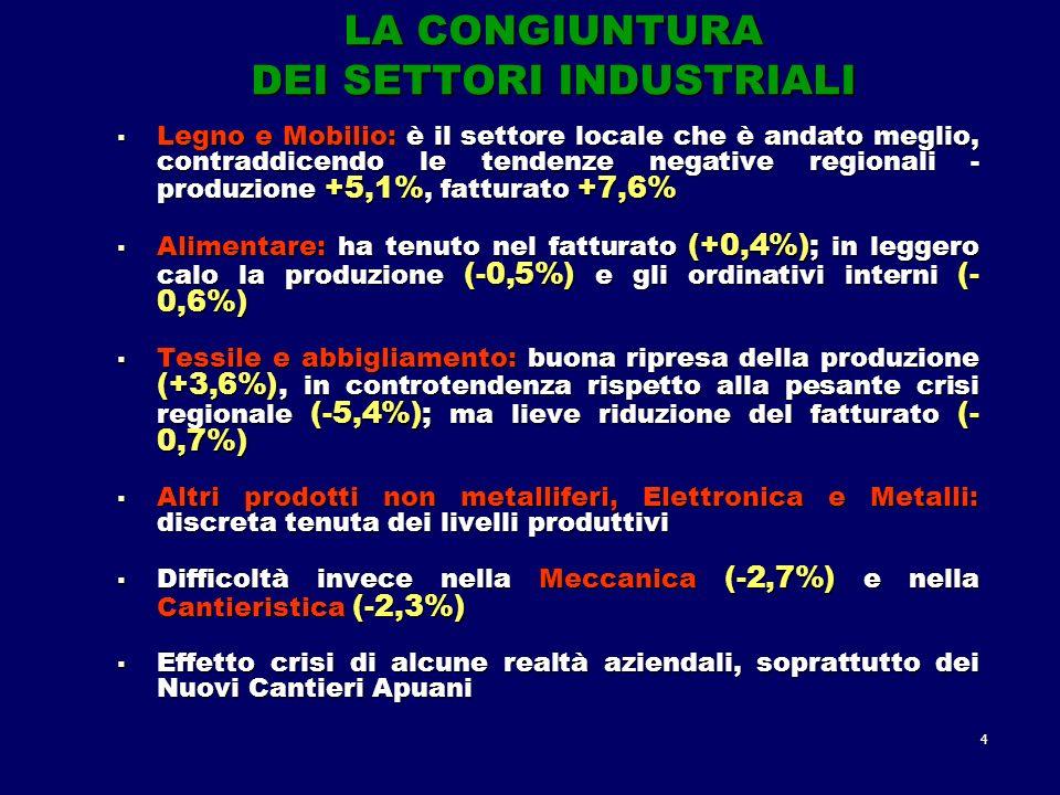 4 LA CONGIUNTURA DEI SETTORI INDUSTRIALI Legno e Mobilio: è il settore locale che è andato meglio, contraddicendo le tendenze negative regionali - produzione +5,1%, fatturato +7,6% Legno e Mobilio: è il settore locale che è andato meglio, contraddicendo le tendenze negative regionali - produzione +5,1%, fatturato +7,6% Alimentare: ha tenuto nel fatturato (+0,4%); in leggero calo la produzione (-0,5%) e gli ordinativi interni (- 0,6%) Alimentare: ha tenuto nel fatturato (+0,4%); in leggero calo la produzione (-0,5%) e gli ordinativi interni (- 0,6%) Tessile e abbigliamento: buona ripresa della produzione (+3,6%), in controtendenza rispetto alla pesante crisi regionale (-5,4%); ma lieve riduzione del fatturato (- 0,7%) Tessile e abbigliamento: buona ripresa della produzione (+3,6%), in controtendenza rispetto alla pesante crisi regionale (-5,4%); ma lieve riduzione del fatturato (- 0,7%) Altri prodotti non metalliferi, Elettronica e Metalli: discreta tenuta dei livelli produttivi Altri prodotti non metalliferi, Elettronica e Metalli: discreta tenuta dei livelli produttivi Difficoltà invece nella Meccanica (-2,7%) e nella Cantieristica (-2,3%) Difficoltà invece nella Meccanica (-2,7%) e nella Cantieristica (-2,3%) Effetto crisi di alcune realtà aziendali, soprattutto dei Nuovi Cantieri Apuani Effetto crisi di alcune realtà aziendali, soprattutto dei Nuovi Cantieri Apuani