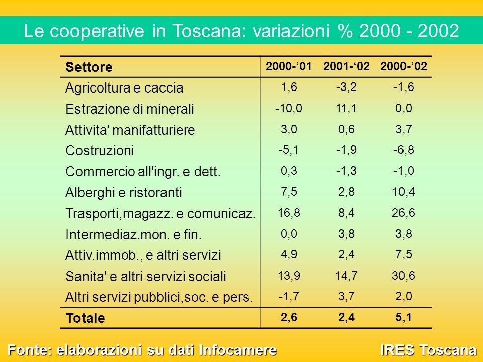 Le cooperative in Toscana: variazioni % 2000 - 2002 IRES Toscana Fonte: elaborazioni su dati Infocamere Settore 2000-012001-022000-02 Agricoltura e caccia 1,6-3,2-1,6 Estrazione di minerali -10,011,10,0 Attivita manifatturiere 3,00,63,7 Costruzioni -5,1-1,9-6,8 Commercio all ingr.