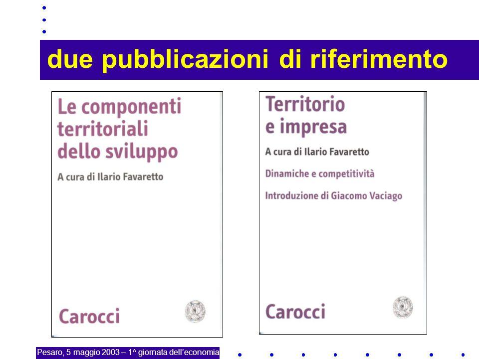 17 due pubblicazioni di riferimento Pesaro, 5 maggio 2003 – 1^ giornata delleconomia