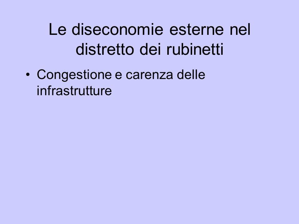 Le diseconomie esterne nel distretto dei rubinetti Congestione e carenza delle infrastrutture