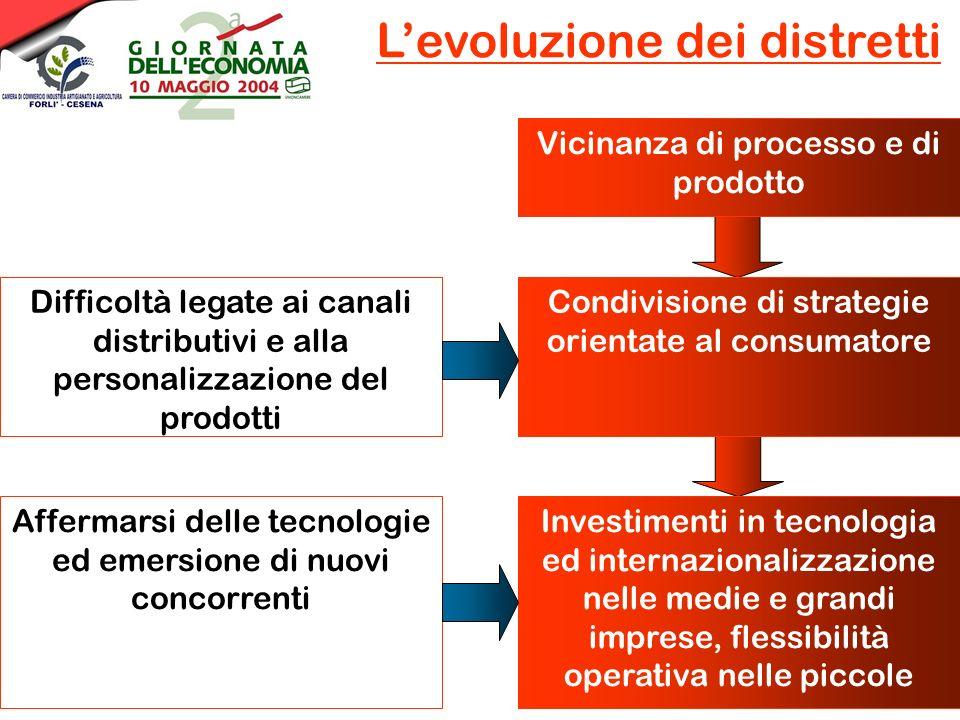 Vicinanza di processo e di prodotto Levoluzione dei distretti Condivisione di strategie orientate al consumatore Difficoltà legate ai canali distributivi e alla personalizzazione del prodotti Affermarsi delle tecnologie ed emersione di nuovi concorrenti Investimenti in tecnologia ed internazionalizzazione nelle medie e grandi imprese, flessibilità operativa nelle piccole