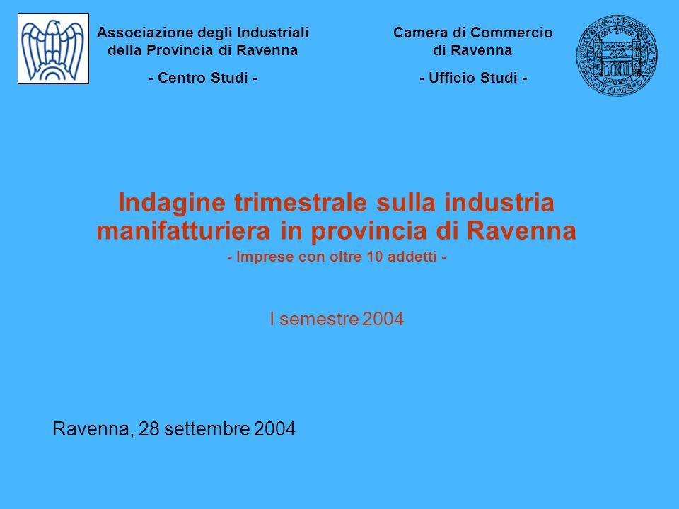 Indagine trimestrale sulla industria manifatturiera in provincia di Ravenna - Imprese con oltre 10 addetti - I semestre 2004 Ravenna, 28 settembre 200