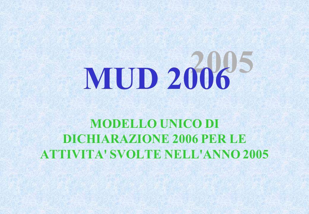 MODELLO UNICO DI DICHIARAZIONE 2006 PER LE ATTIVITA SVOLTE NELL ANNO 2005 2005 MUD 2006