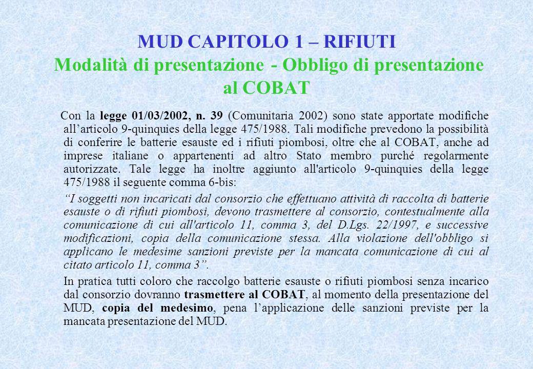 MUD CAPITOLO 1 – RIFIUTI Modalità di presentazione - Obbligo di presentazione al COBAT Con la legge 01/03/2002, n.
