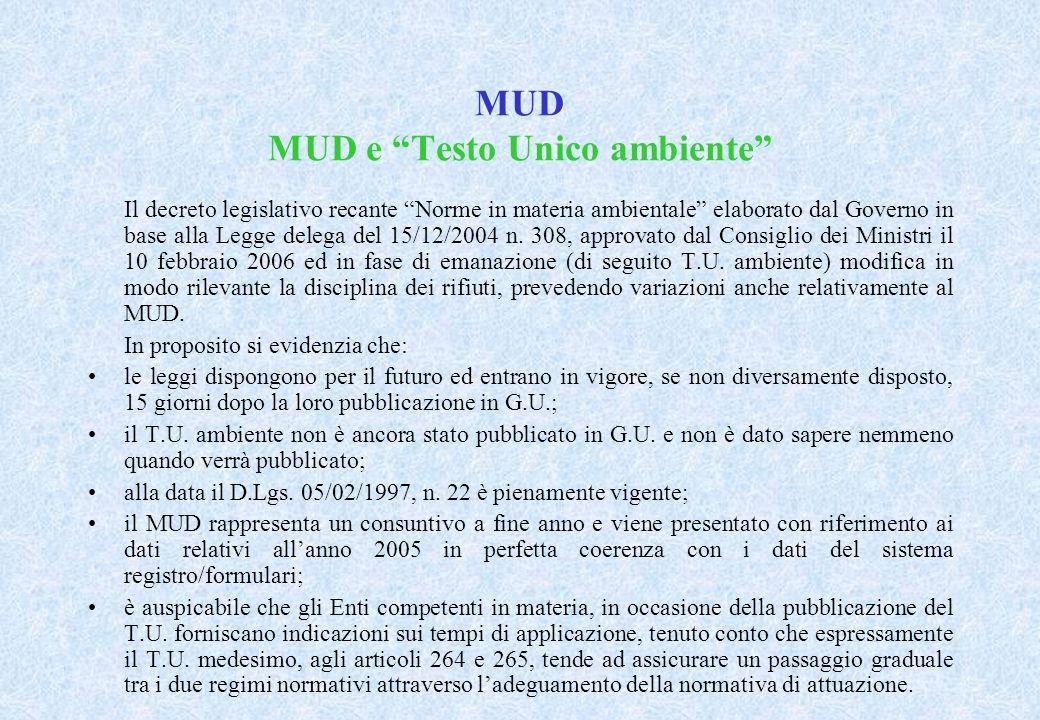 MUD MUD e Testo Unico ambiente Il decreto legislativo recante Norme in materia ambientale elaborato dal Governo in base alla Legge delega del 15/12/2004 n.