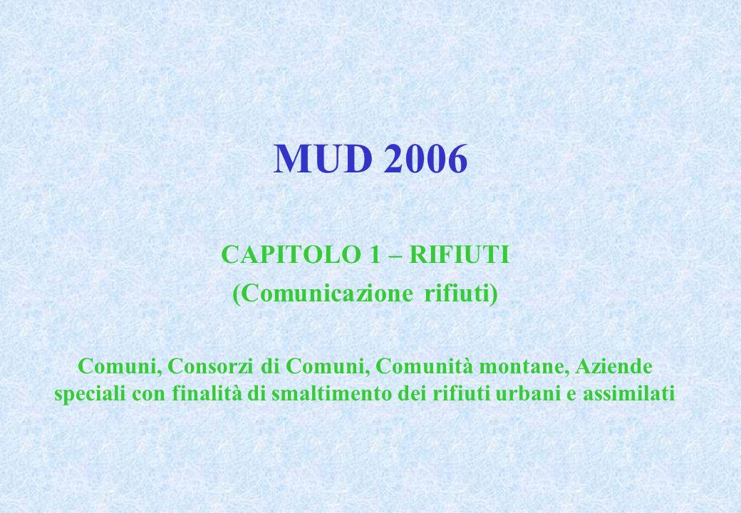 MUD 2006 CAPITOLO 1 – RIFIUTI (Comunicazione rifiuti) Comuni, Consorzi di Comuni, Comunità montane, Aziende speciali con finalità di smaltimento dei rifiuti urbani e assimilati