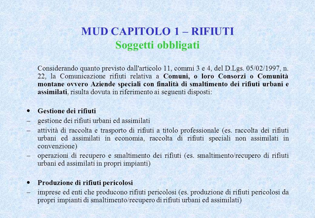 MUD CAPITOLO 1 – RIFIUTI Soggetti obbligati Considerando quanto previsto dall articolo 11, commi 3 e 4, del D.Lgs.