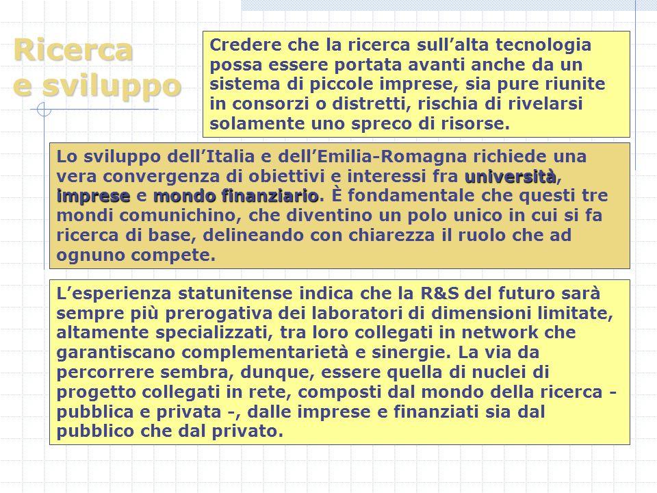 Ricerca e sviluppo università impresemondo finanziario Lo sviluppo dellItalia e dellEmilia-Romagna richiede una vera convergenza di obiettivi e interessi fra università, imprese e mondo finanziario.