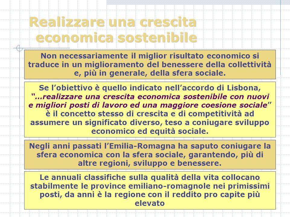 Realizzare una crescita economica sostenibile Non necessariamente il miglior risultato economico si traduce in un miglioramento del benessere della collettività e, più in generale, della sfera sociale.
