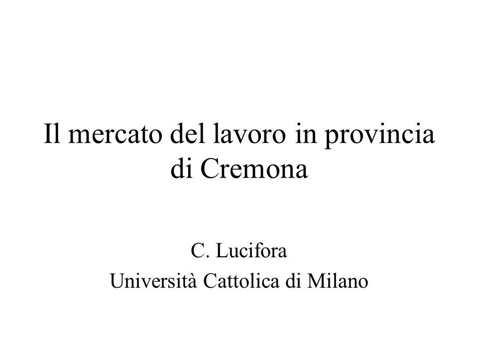 Il mercato del lavoro in provincia di Cremona C. Lucifora Università Cattolica di Milano