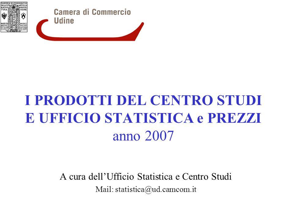 I PRODOTTI DEL CENTRO STUDI E UFFICIO STATISTICA e PREZZI anno 2007 A cura dellUfficio Statistica e Centro Studi Mail: statistica@ud.camcom.it