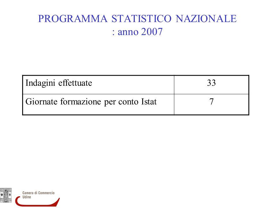PROGRAMMA STATISTICO NAZIONALE : anno 2007 Indagini effettuate33 Giornate formazione per conto Istat7