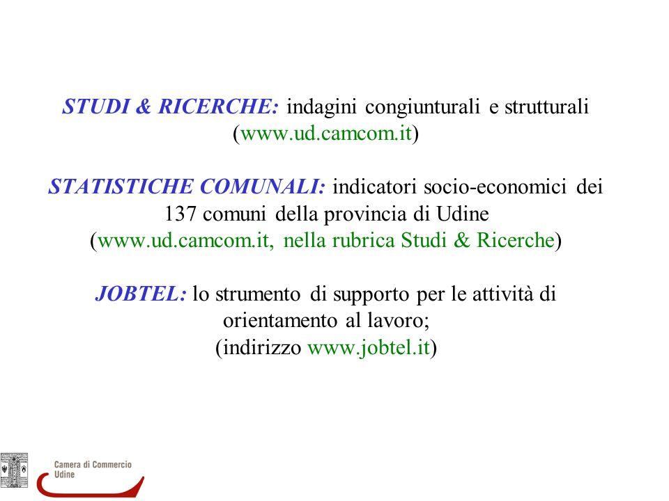 STUDI & RICERCHE: indagini congiunturali e strutturali (www.ud.camcom.it) STATISTICHE COMUNALI: indicatori socio-economici dei 137 comuni della provincia di Udine (www.ud.camcom.it, nella rubrica Studi & Ricerche) JOBTEL: lo strumento di supporto per le attività di orientamento al lavoro; (indirizzo www.jobtel.it)